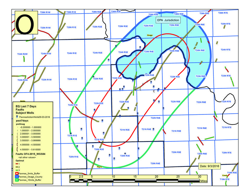 Photo - This a map of the Area of Interest (AOI) and action being taken by the Oklahoma Corporation Commission's Oil and Gas Conservation Division (OGCD) in response to this morning's 5.6 earthquake.   Again, key points: Total AOI size: 725 square miles Portion not under OCC jurisdiction: 211 square miles* Number of Arbuckle oil and gas wastewater disposal wells under OCC jurisdiction to shut down: 37 Schedule: Wells within 5 miles of epicenter to complete shut down within 7 days. Wells within 10 miles of epicenter to complete shut down within 10 days.  Length of shut-down: Indefinite Notification of operations: Currently underway Number of operators: 10   *Osage county area under EPA sole jurisdiction. OCC in contact with EPA, which will make decision regarding Osage county disposal wells. OCC has no data regarding oil and gas activity in Osage county.    Other points: This is not considered a final action. Other actions are possible depending on new data.  The directive on the shut-down of the wells under OCC jurisdiction is mandatory. It is being taken as an emergency action under authority granted by   17 O.S. Sec. 52, 52 O.S. Sec. 139 (D) (1) and OAC 16: 10-5-7(g).