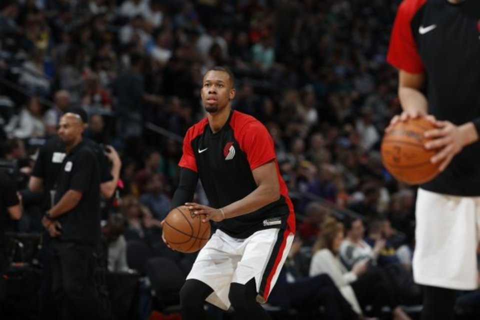 Photo -  Portland Trail Blazers guard Rodney Hood (5) in the second half of an NBA basketball game Friday, April 5, 2019, in Denver. The Nuggets won 119-110. (AP Photo/David Zalubowski)