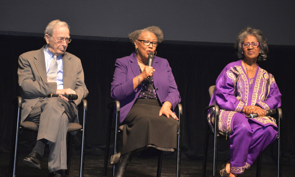 Photo -  Bill Clifford, Joyce Jackson and Joyce Henderson take part in a panel Monday for Mid-Del students learning about the civil rights movement in Oklahoma. [Photo by Stacey Boyer, for The Oklahoman]
