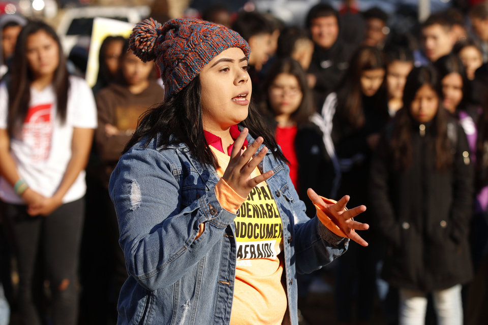 Photo - Brenda Lozano with Dream Action Oklahoma speaks at the DACA support rally at U.S. Grant High School Friday, November 8, 2019. Photo by Doug Hoke