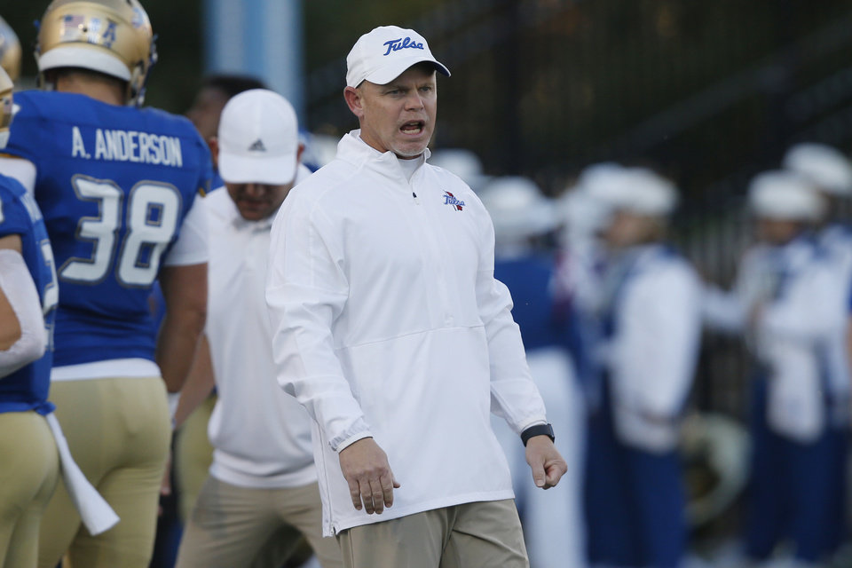 Photo - Tulsa head coach Philip Montgomery during an NCAA college football game against Memphis in Tulsa, Okla., Saturday, Oct. 26, 2019. (AP Photo/Sue Ogrocki)