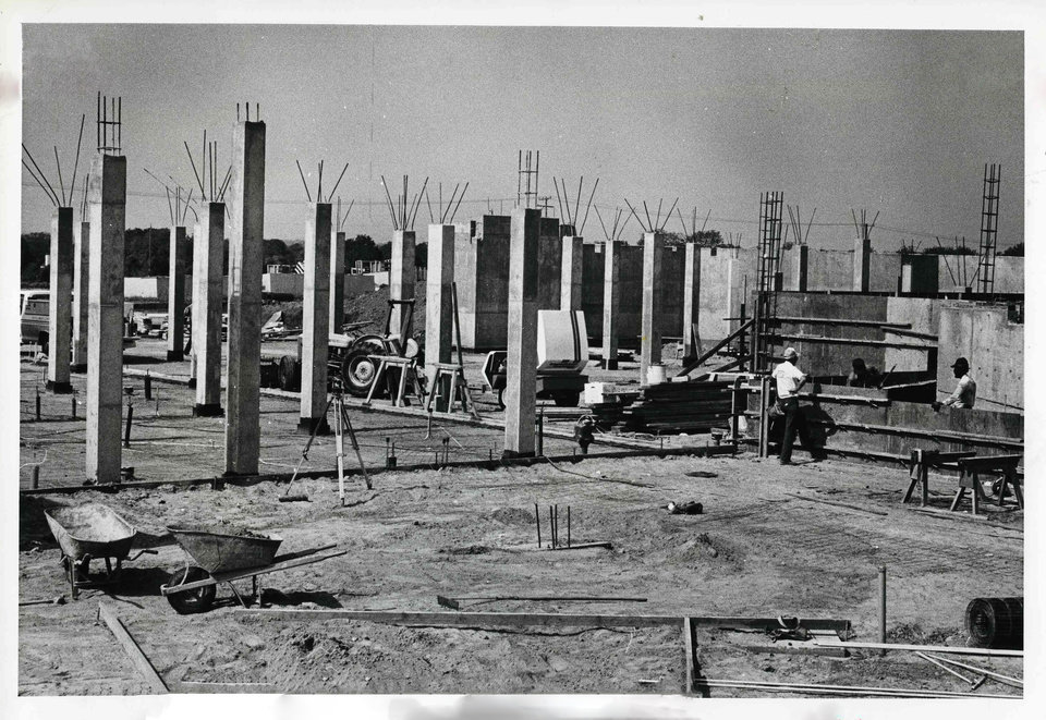 Photo -  July 8, 1981 photo of construction on Enterprise Square USA, a $15 million project to promote the free enterprise system, taking shape. The 60,000-square-foot building is a part of Oklahoma Christian College at Memorial and Benson roads. File PHOTO BY PAUL B. SOUTHERLAND, THE OKLAHOMAN