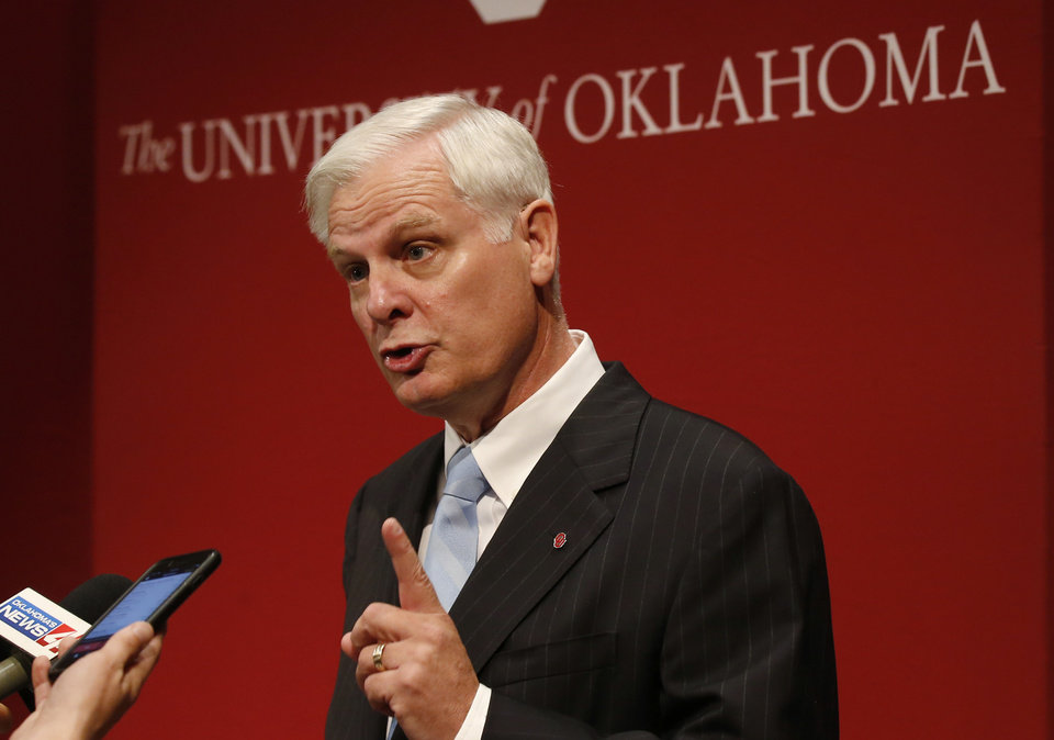 Photo - In this June 19, 2018, photo, James Gallogly, President of the University of Oklahoma, speaks following a Board of Regents meeting in Oklahoma City. Gallogly, a former energy industry executive who came out of retirement to succeed David Boren as the university's president, said in a statement released Sunday, May 12, 2019, that he has advised the university's regents of his plans to retire once they have a transition plan in place. He took on the position last year. (AP Photo/Sue Ogrocki)