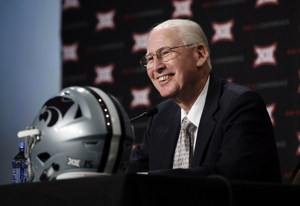 Photo - Kansas State head football coach Bill Snyder smiles as he listens to a question from a reporter at NCAA college Big 12 Conference Football Media Days Monday, July 20, 2015, in Dallas. (AP Photo/Tony Gutierrez)