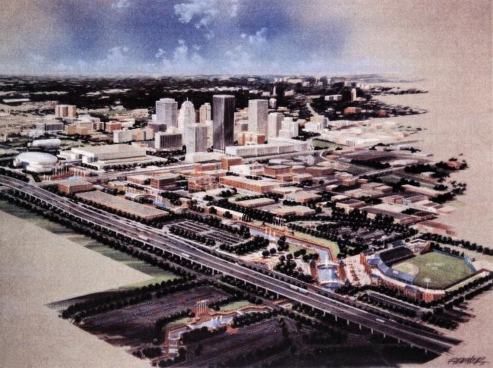 Photo -  This artist's rendering shows how the finished MAPS projects would look in the overall cityscape upon completion. The concept was done in 1992 by the architectural firm of Frankfurt-Short-Bruza. [Provided]