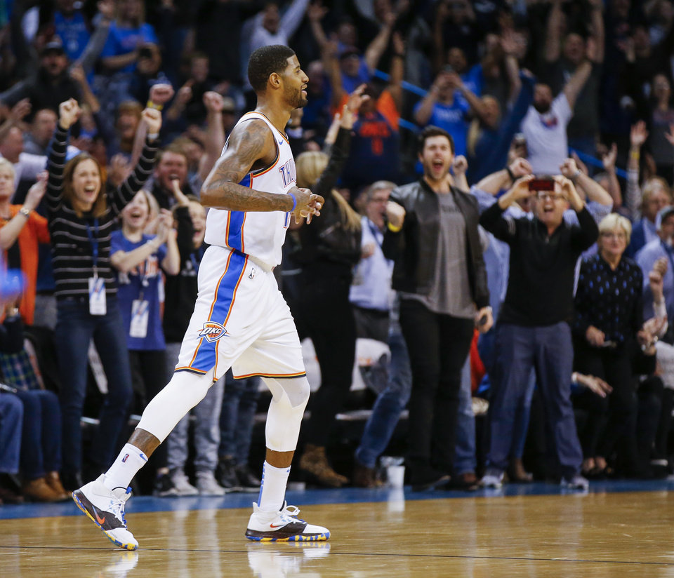 Photo - Oklahoma City's Paul George (13) reacts after making a three-point shot in the fourth quarter during an NBA basketball game between the Portland Trail Blazers and the Oklahoma City Thunder at Chesapeake Energy Arena in Oklahoma City, Monday, Feb. 11, 2019. Oklahoma City won 120-111. Photo by Nate Billings, The Oklahoman
