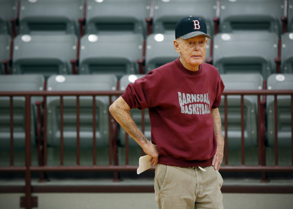 Photo - Joe Gilbert, who spent 66 years coaching numerous sports at Barnsdall High School, died Monday at age 87. [Nate Billings/The Oklahoman]