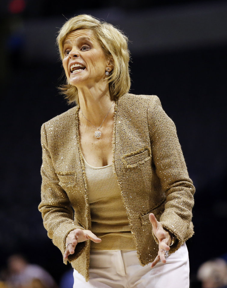 Photo - Baylor coach Kim Mulkey yells during the Big 12 Women's Basketball Championship final between the Texas Longhorns and the Baylor Lady Bears at Chesapeake Energy Arena in Oklahoma City, Monday, March 7, 2016. Photo by Nate Billings, The Oklahoman