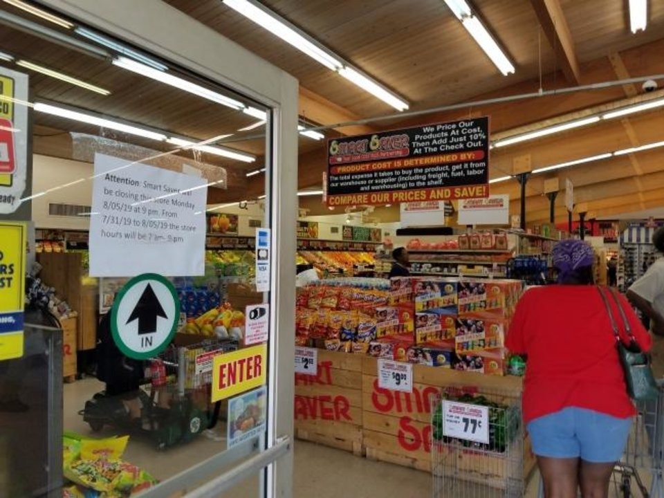 Photo -  With Smart Saver grocery store closing on Monday  residents in norhteast Oklahoma City will be left with few nearby options for fresh produce, meat, poultry and basic staples. [Steve Lackmeyer/The Oklahoman]