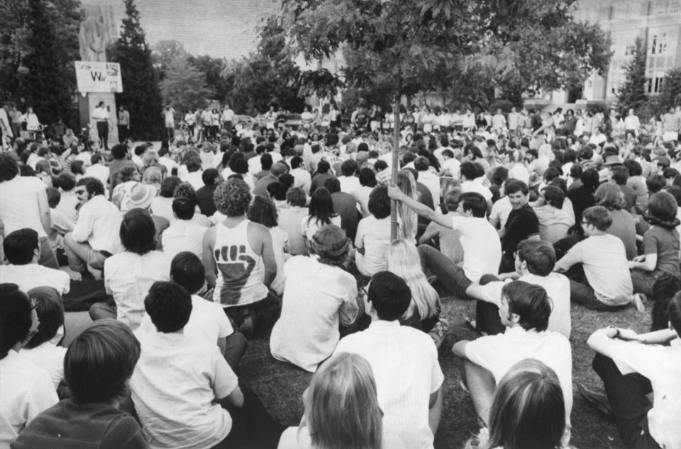 Photo - Student activism was ever present in the 1960's and 1970's as well. Here, students protest the Vietnam War on the south Oval in 1970.
