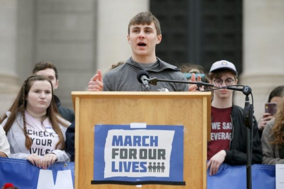 Photo -  James Limbaugh, 19, a University of Central Oklahoma student, speaks during a March for Our Lives rally in support of gun control at the state Capitol  in Oklahoma City on Saturday. [Bryan Terry/The Oklahoman]