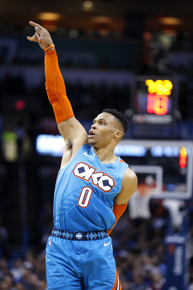Photo - Oklahoma City's Russell Westbrook (0) reacts after a basket during the NBA game between the Oklahoma City Thunder and the Orlando Magic at the Chesapeake Energy Arena  Tuesday, Feb. 5, 2019. Photo by Sarah Phipps, The Oklahoman