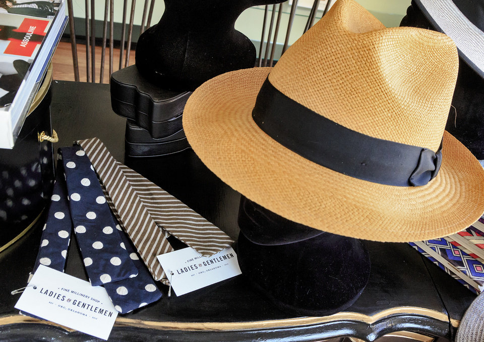 Photo -  Men's hat and bow ties at Ladies and Gentlemen Fine Millinery Shop in The Paseo District. Photo by Chris Landsberger, The Oklahoman   CHRIS LANDSBERGER -  CHRIS LANDSBERGER