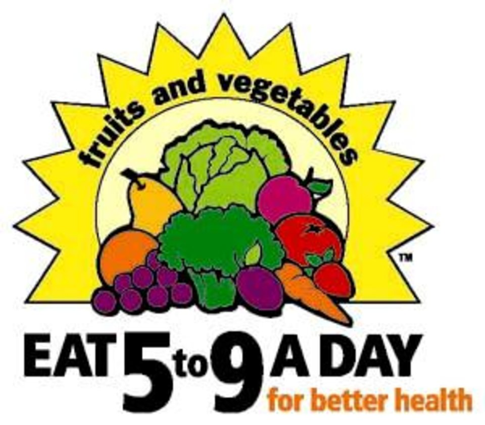 Fruits And Vegetables EAT 5 To 9 A DAY For Better Health LOGO GRAPHIC