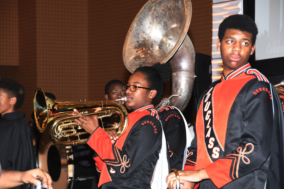 Photo - Several members of the Douglass High School Marching Band are shown in this photo. The band performed at the recent Whiz Kids Oklahoma