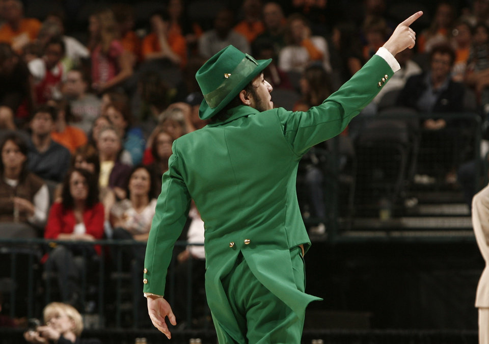 3a883295f10d Notre Dame mascot Juan Muldoon encourages fans during the regional  semifinals of the NCAA women s basketball