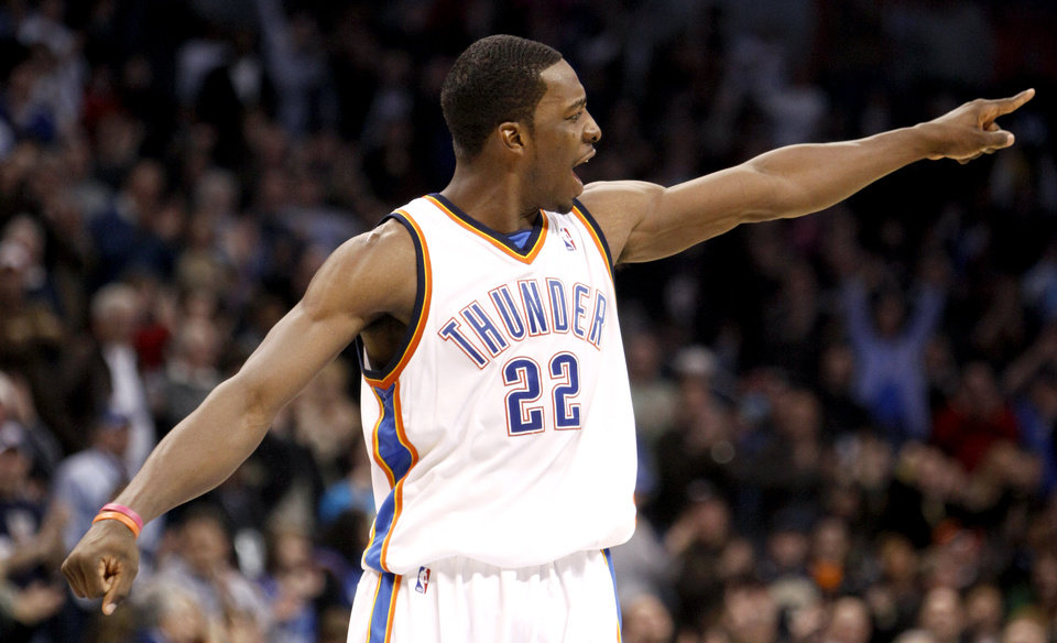 cheap for discount eeead fbf9f CELEBRATION  Oklahoma City s Jeff Green (22) celebrates a Thunder score  during the NBA basketball game between the Oklahoma City Thunder and the  Indiana ...