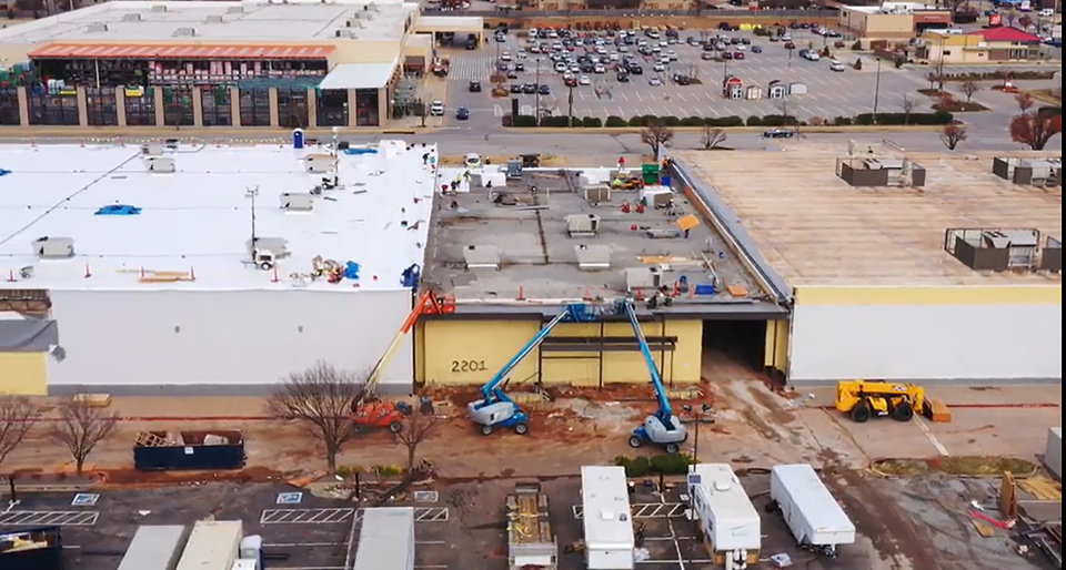 Photo -  A drone view of retrofitting at the Plaza at Quail Springs in preparation for a 117,000-square-foot At Home store. The work and store opening were delayed by the coronavirus and business shutdown. [PROVIDED/JAH REALTY LP]