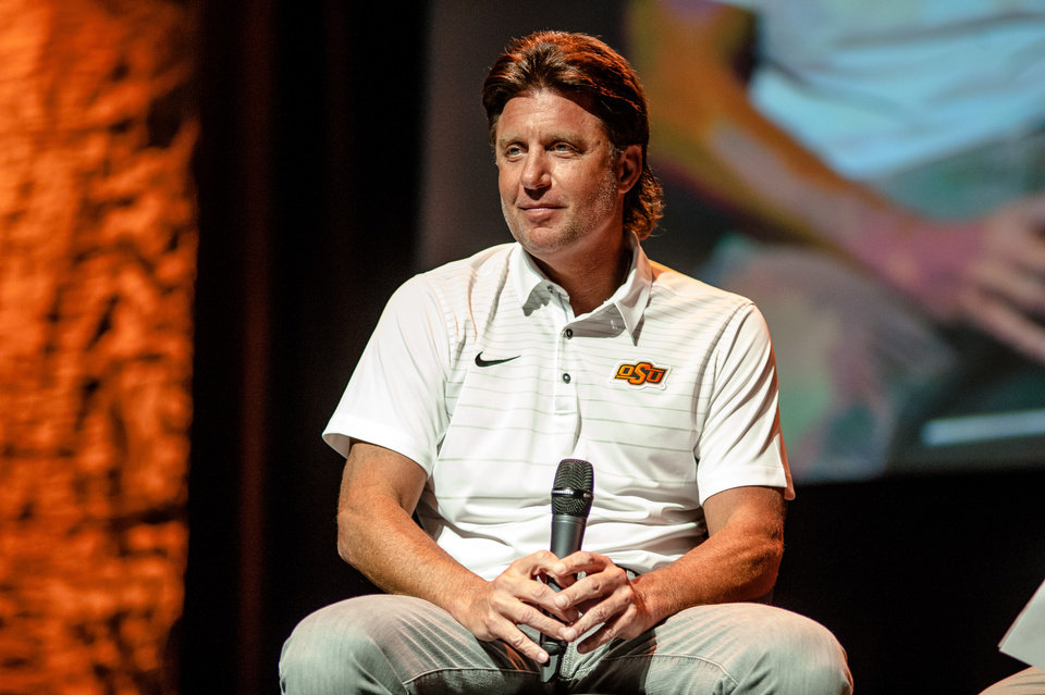 Photo - Cowboy football coach, Mike Gundy, speaks at the Cowboy Caravan event at The Joint at Hardrock Hotel in Catoosa on August 6, 2018./JOSEPH RUSHMORE for Tulsa World