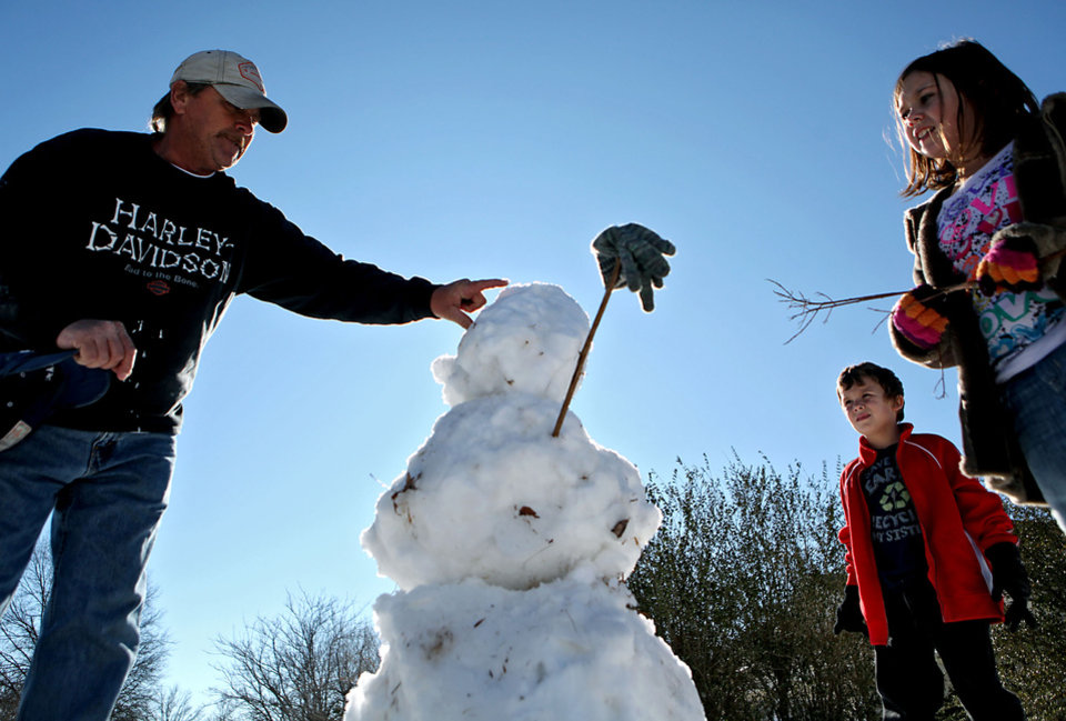 Photo - WINTER STORM / SNOWSTORM / BLIZZARD AFTERMATH / ICE / SNOW / COLD / WINTER WEATHER: Gus Fritz, 6, and Faith Fritz, 9, watch as their father Freddie Fritz puts penny eyes into a snowman outside the family's home in Shawnee, Okla., on Monday, Dec. 28, 2009. By John Clanton, The Oklahoman ORG XMIT: KOD