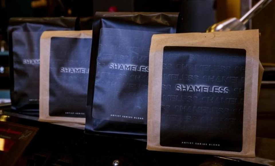 Photo -  Bags of Shameless coffee at LEAP Coffee Roasters on Monday, Jan. 27, 2020, in Oklahoma City, Okla.   [Chris Landsberger/The Oklahoman]