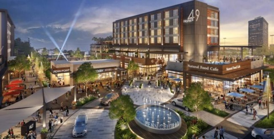 Photo -  Tentative agreements are in place for a 140-room boutique hotel to anchor Penn Central at Northwest Expressway and Pennsylvania Avenue. [RENDERING BY WAKEFIELD BEASLEY & ASSOCIATES]