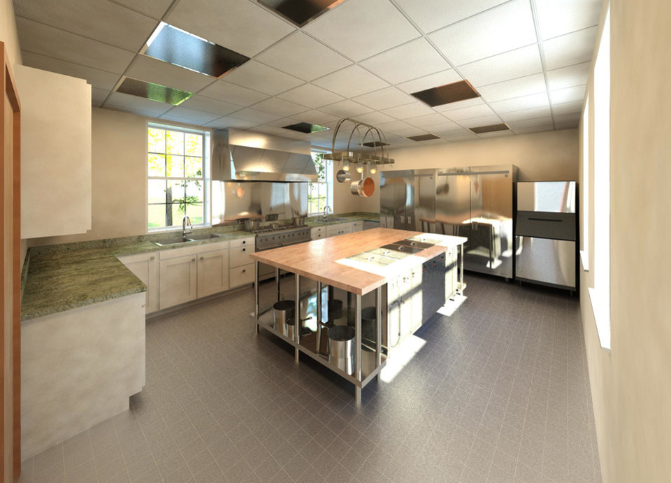 Photo - This is an architect's rendering of the new 450 square-foot industrial kitchen planned to be built at Neighborhood Services Organization's Carolyn Williams Center with a $100,000 grant recently announced from Impact Oklahoma. Photo provided.