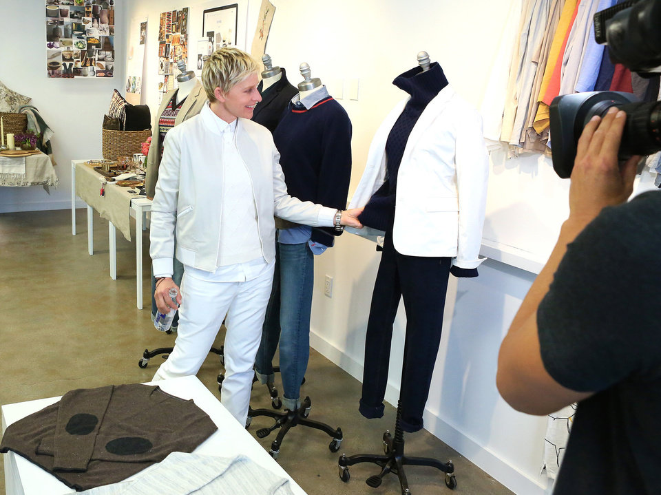 Photo - Ellen DeGeneres looks at some of the pieces from her new lifestyle collection, ED by Ellen DeGeneres. (ED by Ellen DeGeneres)