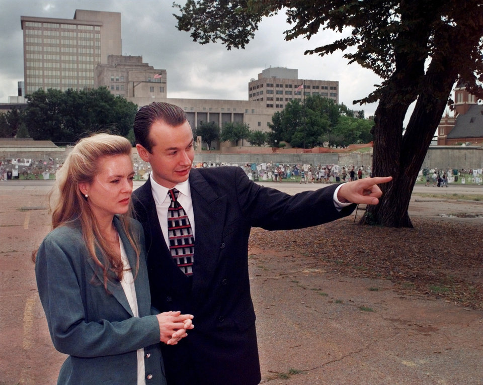 Photo -  Torrey and Hans Butzer are shown in 1997, looking over the site that would become the Oklahoma City National Memorial   [The Oklahoman Archives]