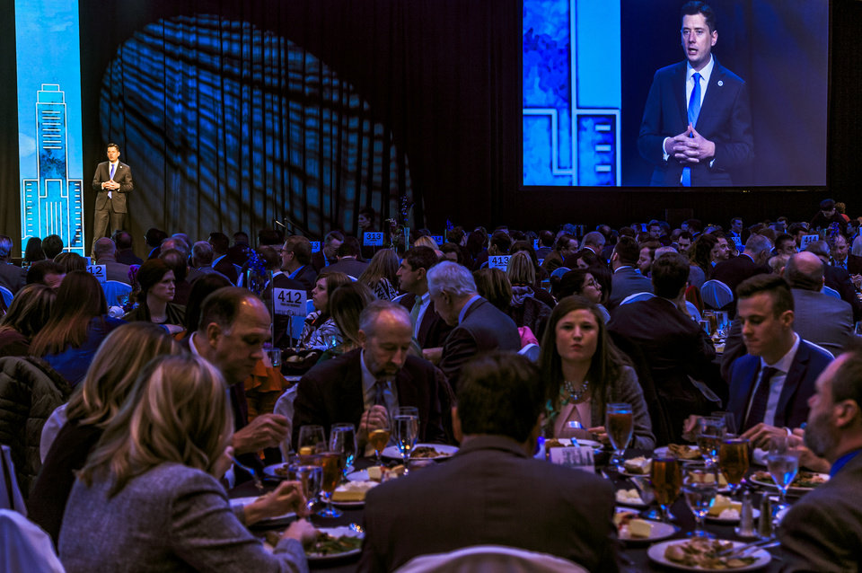 Photo - Oklahoma City mayor David Holt addresses the crowd during his State of the City address at the Cox Convention Center in Oklahoma City Okla. on Thursday, Jan. 17, 2019.  Photo by Chris Landsberger, The Oklahoman
