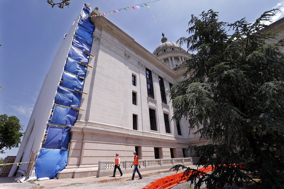 Capitol Restoration Work Is Revealed Wednesday As Scaffolding Is Removed  From The Northwest Side Of The Building. [Photo By Steve Sisney, The  Oklahoman] ...