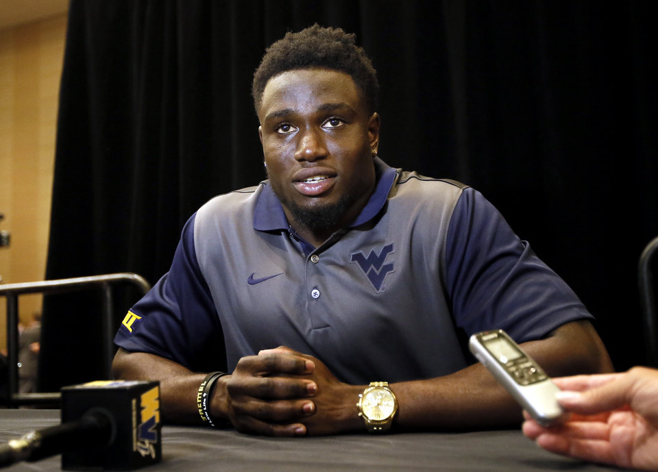 Photo - West Virginia safety Karl Joseph talks to reporters during Big 12 Conference Football Media Days, Monday, July 20, 2015, in Dallas. (AP Photo/Tony Gutierrez)