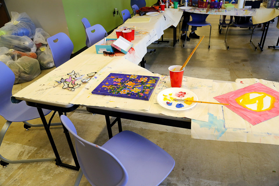 Photo -  The room where participants enjoy a supportive environment while working on art with the fresh stART art program at The Homeless Alliance's day shelter in Oklahoma City. [Photos by Jim Beckel, The Oklahoman]