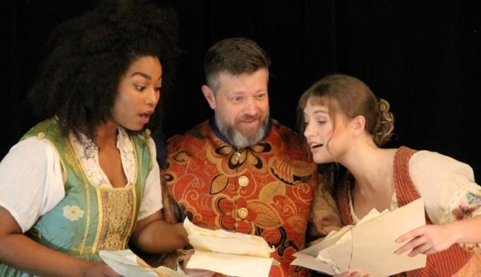 Photo -  From left, Aiesha Watley, Chris Rodgers and Kate Kemmet star in Oklahoma Shakespeare's state premiere production of Lauren Gunderson's