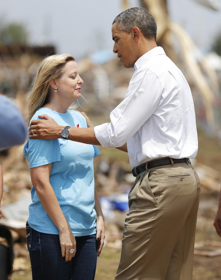 Photo - President Barack Obama talks with Plaza Towers Elementary principle Amy Simpson outside the school in Moore, Okla., on Sunday, May 26, 2013. Photo by Bryan Terry, The Oklahoman