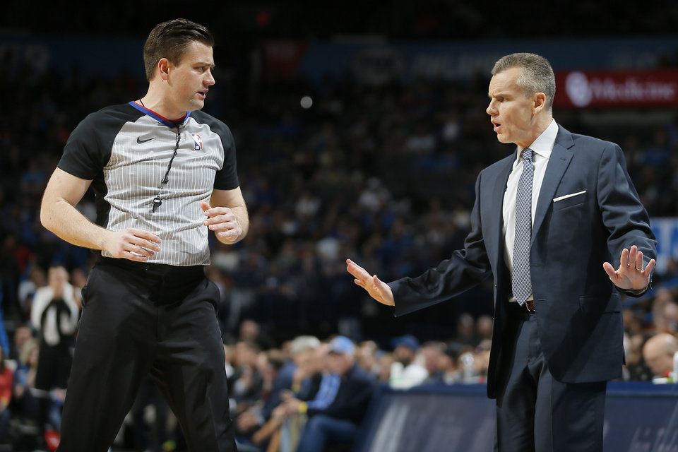 Photo - Oklahoma City coach Billy Donova talks with referee Gediminas Petraitis during an NBA basketball game between the Oklahoma City Thunder and the Brooklyn Nets at Chesapeake Energy Arena in Oklahoma City, Wednesday, March 13, 2019. Oklahoma City won 108-96. Photo by Bryan Terry, The Oklahoman