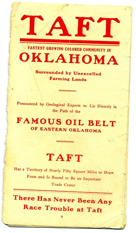Photo - EARLY BLACK SETTLEMENTS / TAFT, OKLAHOMA: Pamphlets touting Oklahoma as a good place for blacks to move and live. Photo provided. ORG XMIT: KOD