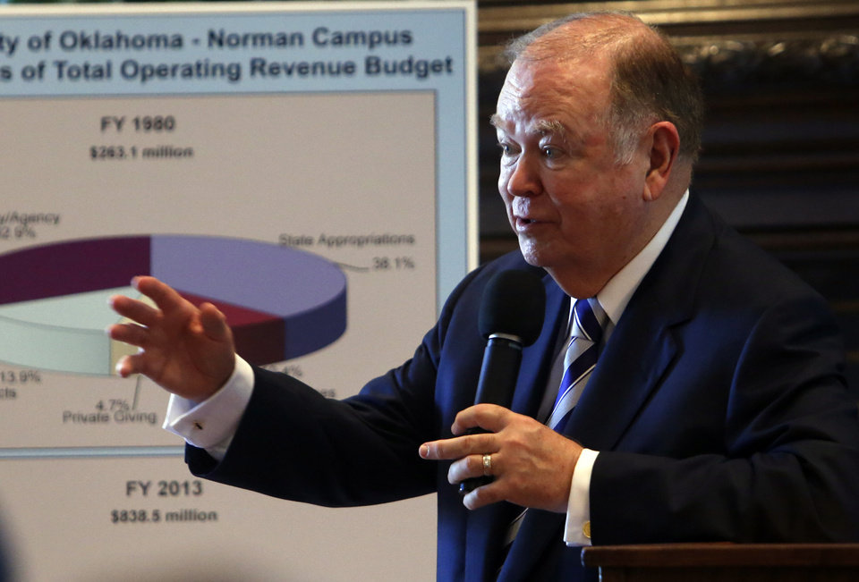 Photo - OU President David Boren speaks to students, faculty and administrators about funding at the University of Oklahoma (OU) on Tuesday, April 30, 2013 in Norman, Okla.  Photo by Steve Sisney, The Oklahoman