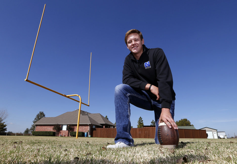 Photo -  Newcastle kicker Hunter Everett started kicking on a field goal post at his house his sophomore season. [PHOTO BY STEVE SISNEY, THE OKLAHOMAN]