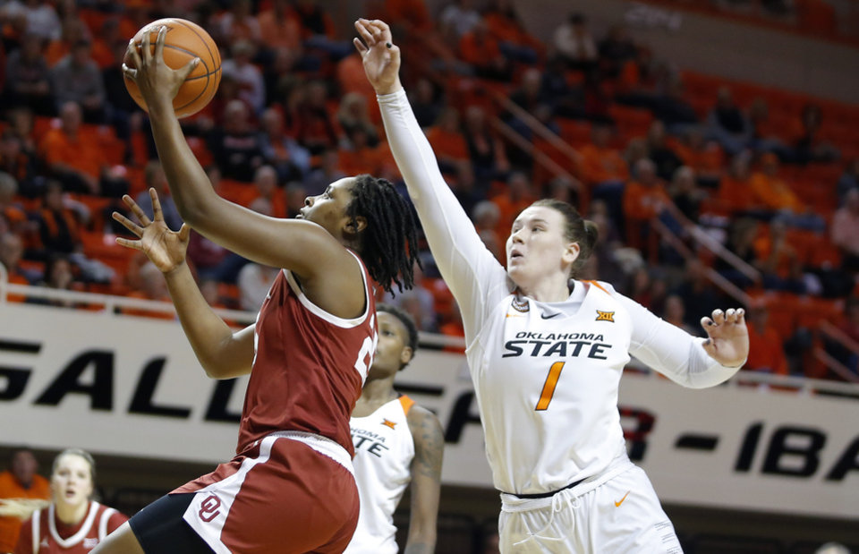 Photo - Oklahoma's Madi Williams (25) goes to the basket past Oklahoma State's Kassidy De Lapp (1) during a women's Bedlam college basketball game between the Oklahoma State University Cowgirls (OSU) and the University of Oklahoma Sooners (OU) at Gallagher-Iba Arena in Stillwater, Okla., Wednesday, Jan. 8, 2020. [Bryan Terry/The Oklahoman]