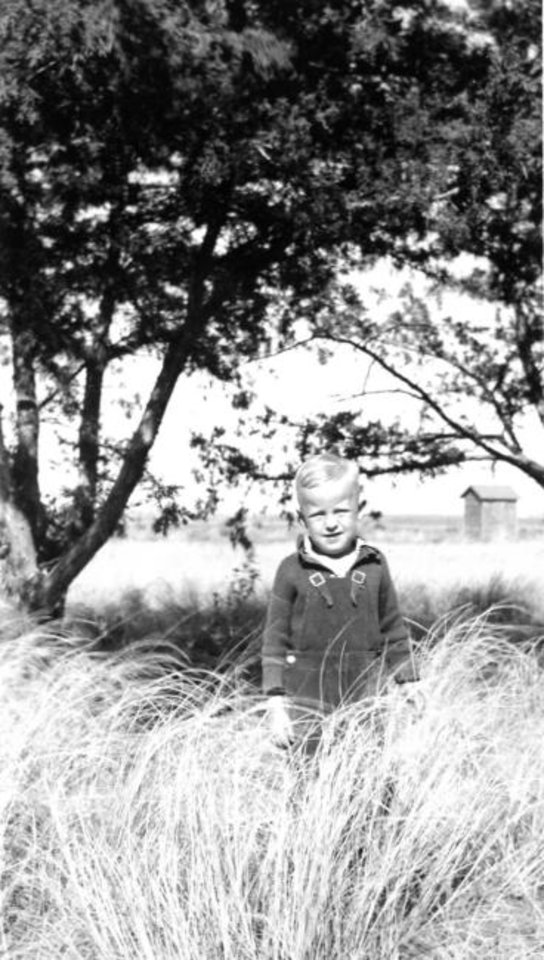 Photo -  Gerald Jaquith as a young boy on his family farm near Waynoka. When Jaquith died at age 78 in 2019, he left his entire estate valued at more than  million to the Oklahoma Medical Research Foundation. [Photo provided]
