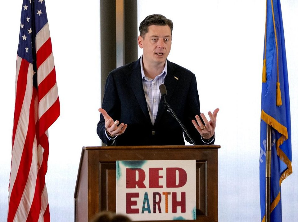 Photo - Oklahoma City Mayor David Holt speaks during a Red Earth press conference at the Petroleum Club in Oklahoma City, Okla. on Monday, Feb. 17, 2020. The news conference announced a new location for the annual Red Earth Festival, a new fall event to mark Oklahoma City's Indigenous Peoples Day and the launch of arts events around the state. [Chris Landsberger/The Oklahoman]