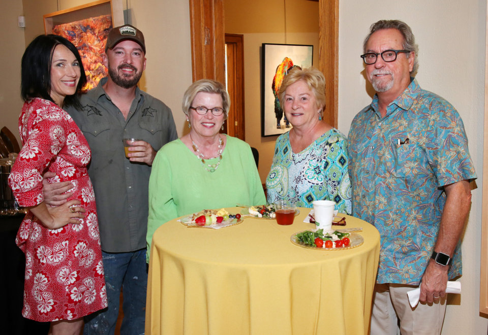 Photo - Rebecca Rutledge, Jack Fowler, Sally Bently, Jerry and Mark Gautrdaux at the Best of the West Brunch at JRB Art at the Elms in Paseo, Sunday, June 10, 2018. Photo by Doug Hoke.