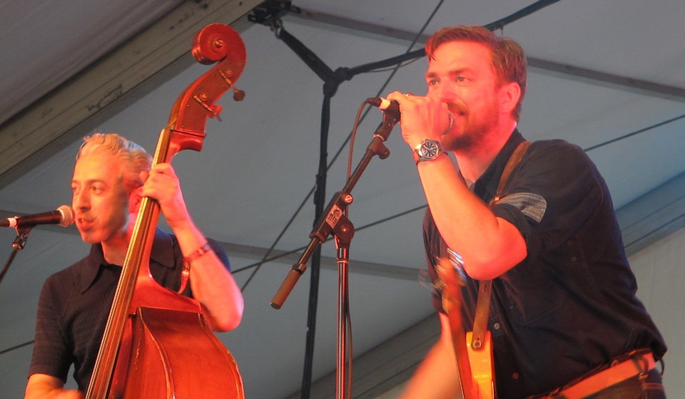 Photo -  JD McPherson, right, and Jimmy Sutton croon their vintage tunes.