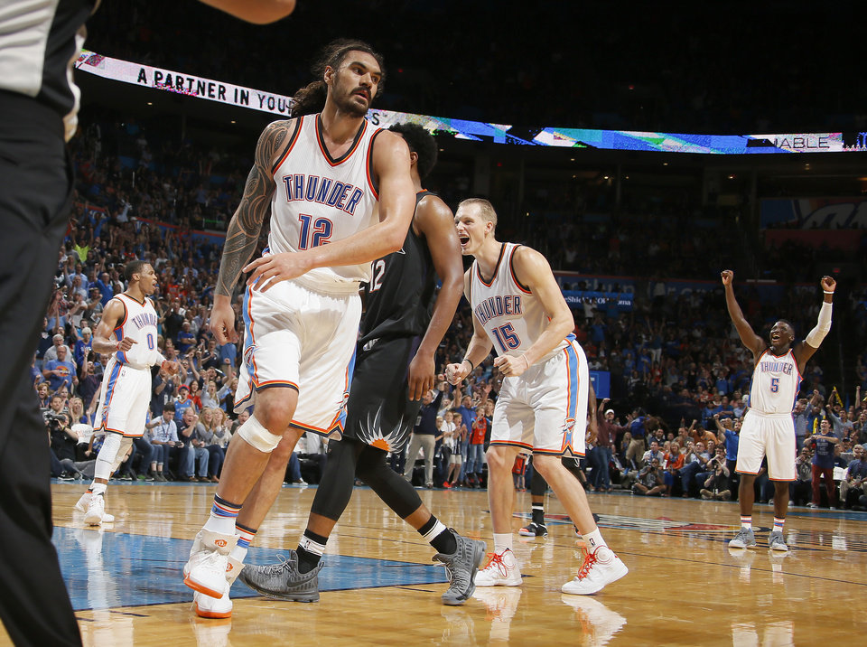 Photo - Oklahoma City's Steven Adams (12) looks up after making a basket and getting fouled during an NBA basketball game between the Oklahoma City Thunder and the Phoenix Suns at Chesapeake Energy Arena in Oklahoma City, Friday, Oct. 28, 2016. Photo by Bryan Terry, The Oklahoman