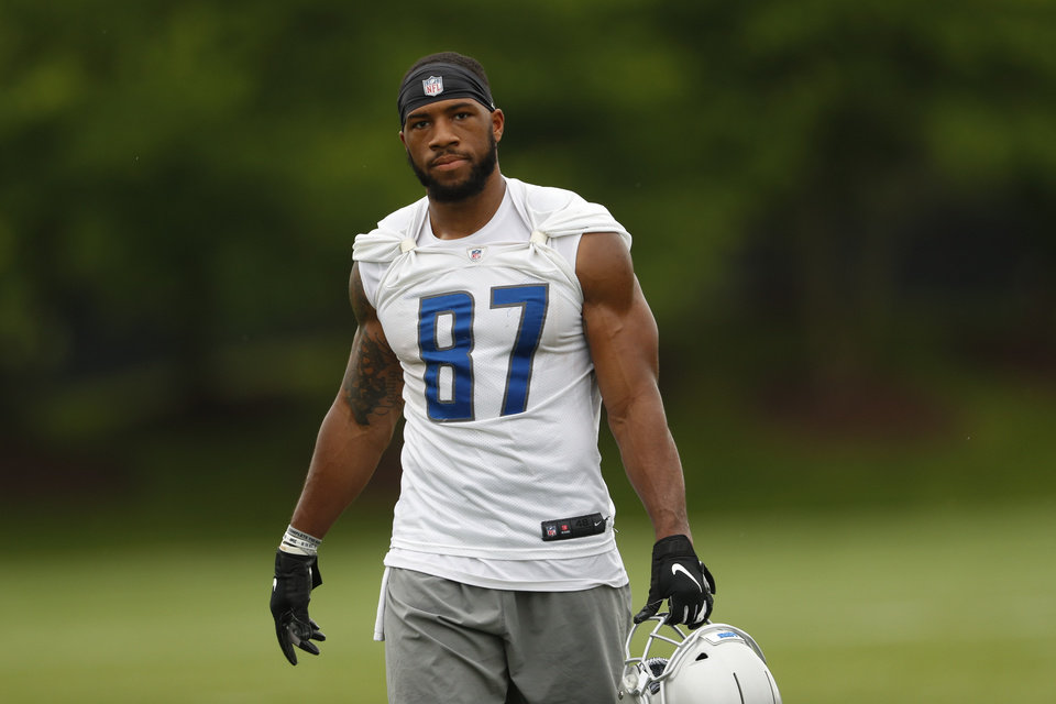 Photo - Detroit Lions wide receiver Jordan Smallwood watches during an NFL football practice in Allen Park, Mich., Thursday, May 30, 2019. (AP Photo/Paul Sancya)