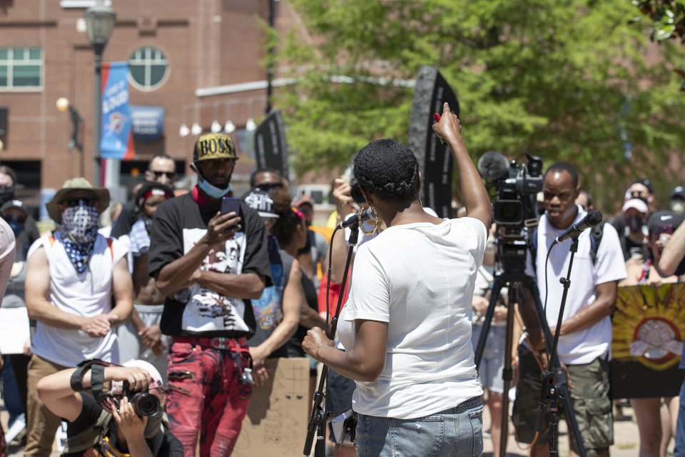Photo - Oklahoma City ward 7 councilwoman Nikki Nice speaks to a crowd during a Black Lives Matter OKC Rally in the Bricktown area of Oklahoma City on Saturday, June 6, 2020. Photo by Alonzo Adams for The Oklahoman.