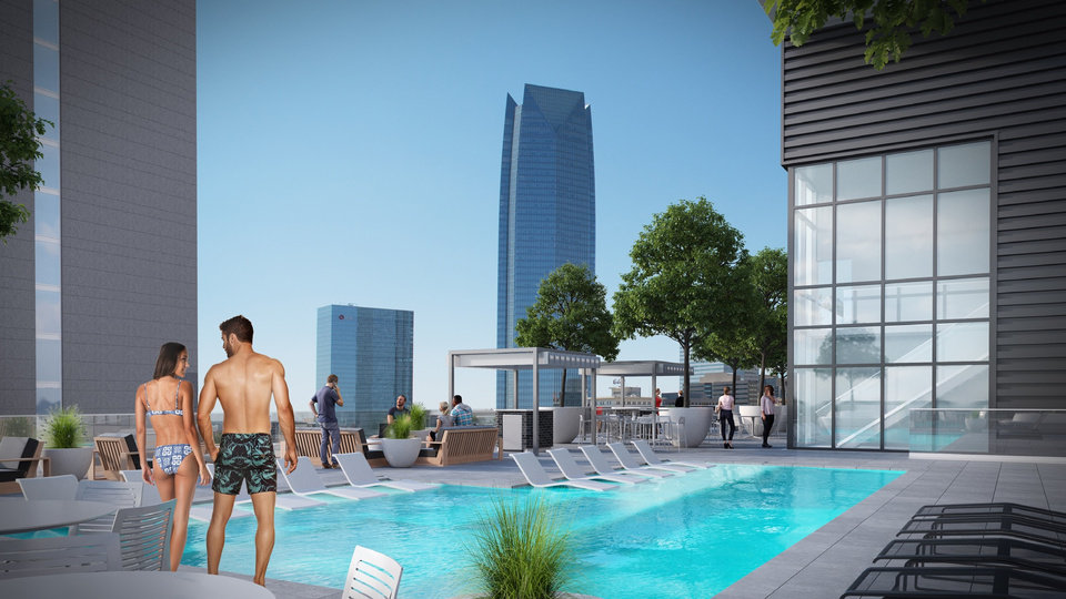Photo -  A rooftop terrace at the eight-story Boulevard Place will include a kitchen, lounge, terrace and pool. [Rendering provided by FSB]