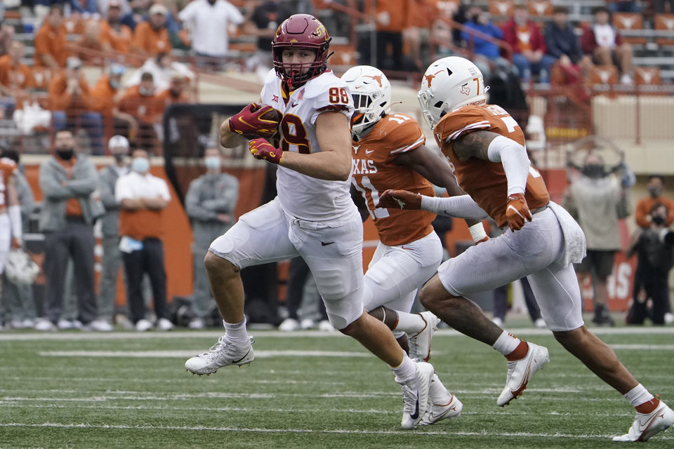 Photo - Iowa State tight end Charlie Kolar (88) makes a catch against Texas during the second half of an NCAA college football game, Friday, Nov. 27, 2020, in Austin, Texas. (AP Photo/Eric Gay)