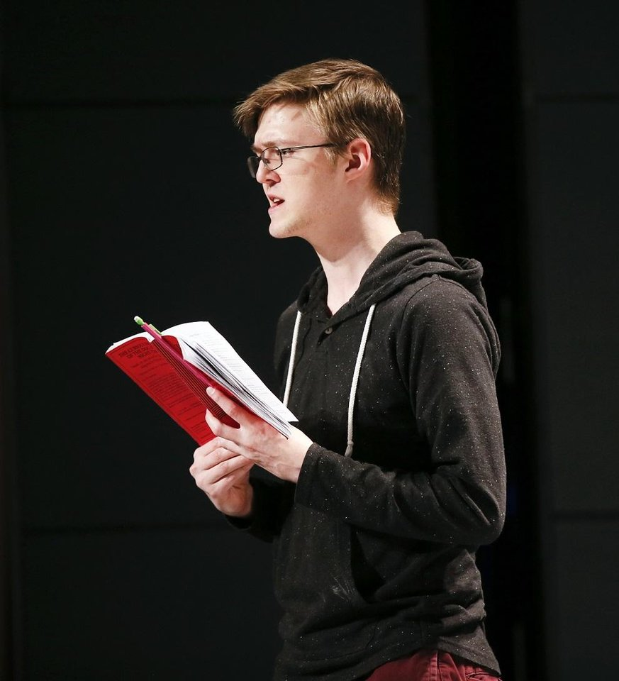 Photo - Cameron Law portrays Christopher Boone during rehearsals for CityRep's production of the Tony-winning play